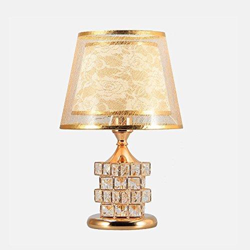 Stein Schmiedeeisen (Europäische Luxus Kristall Tischlampe Galvanik Gold Doppelschalter Schmiedeeisen Schreibtischlampe Kreative Stein Doppel Lampe Desktop Lampe Für Wohnzimmer Höhle Cafe, Φ12.5cm H41cm E27)
