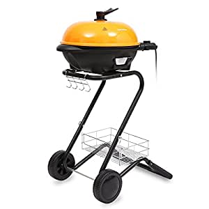 Excelvan Portable 1600W Electric Indoor Grill Indoor and Outdoor BBQ Barbecue Grill with 5 Temperature Settings, Smokeless, Non-stick, Easy to Clean(Orange)