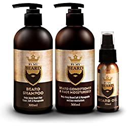 BY MY BEARD - Champú/acondicionador para barba y aceite hidratante facial completo triple pack