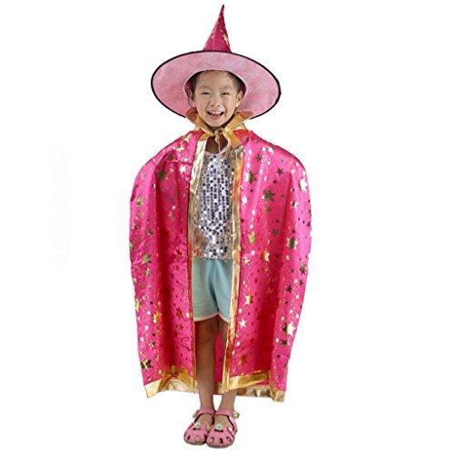Fünf Halloween Umhang Set Halloween Kind Kostüm Hexe Umhang Magic Master Dress Up (Farbe : - Kinder Pink Hexe Kostüm