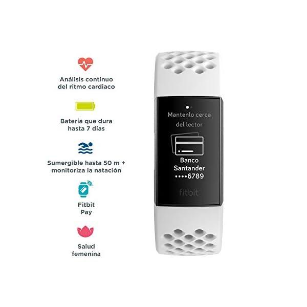 Fitbit Charge 3 Pulsera Avanzada de Salud y Actividad física, Unisex-Adult, Blanco Hielo/Aluminio Color Grafito, Talla… 5