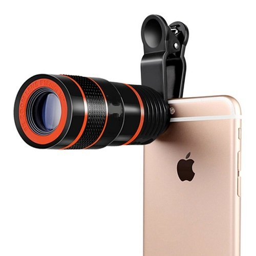 Yumato ZUM8 8X Zoom Mobile Phone Telescope Clip Lens for Cell Phone Optical Lens Magnifier Compatible with All Android, iOS & Windows Device (Random Colour)