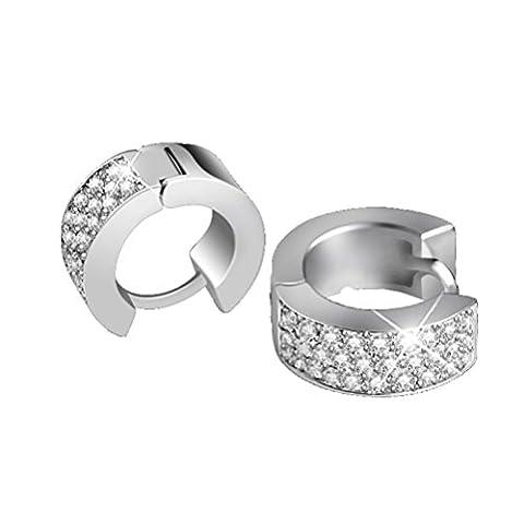 SunIfSnow Unusual Ring-Shape Hoop Fancy Clasps Earrings Silver