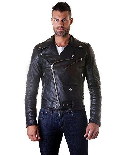 D'Arienzo - Blouson modèle clouté, motard - Fermeture éclair latérale, noir Noir