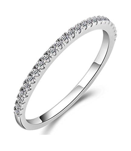 Cristallo d'argento Cubic Zirconia diamante Canale Stud fidanzamento Eternity anello placcato per la sua dimensione Q