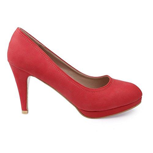 La Modeuse - Escarpins grande taille unis à plateforme en simili cuir Rouge
