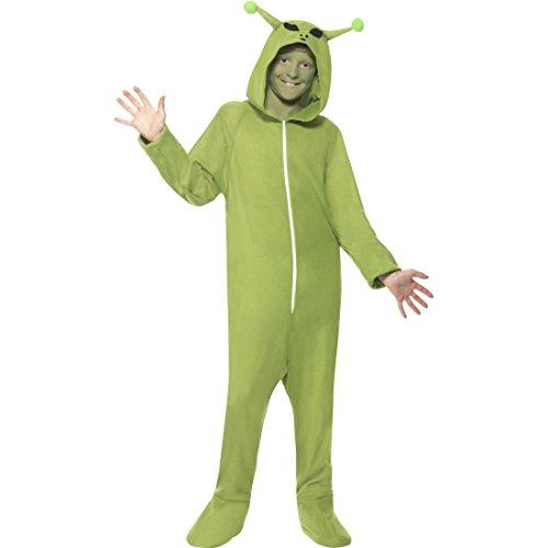 NET TOYS Grünes Monsterkostüm Kinder Alien Kostüm L 10-12 Jahre 140-158 cm Süßes Alienkostüm Außerirdischer Jumpsuit UFO Halloween E.T. Overall Space Ganzkörperkostüm Karneval Kostüme Jungen ()
