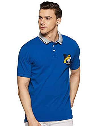 Amazon Brand - House & Shields Men's Solid Regular fit Polo (SS19-HSK-22_Cobalt Blue S)