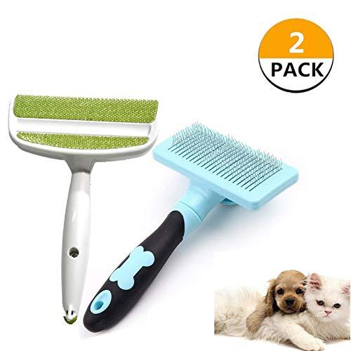 VCZONE selbstreinigende Zupfbürste, 2 Stück, Haustierbürsten für Hunde - Katzen, Fellpflegebürste für Schuppen entfernt Matten, Tierhaarentferner Bürste für Möbel, Kleidung, Couch, Teppich, blau/grün -