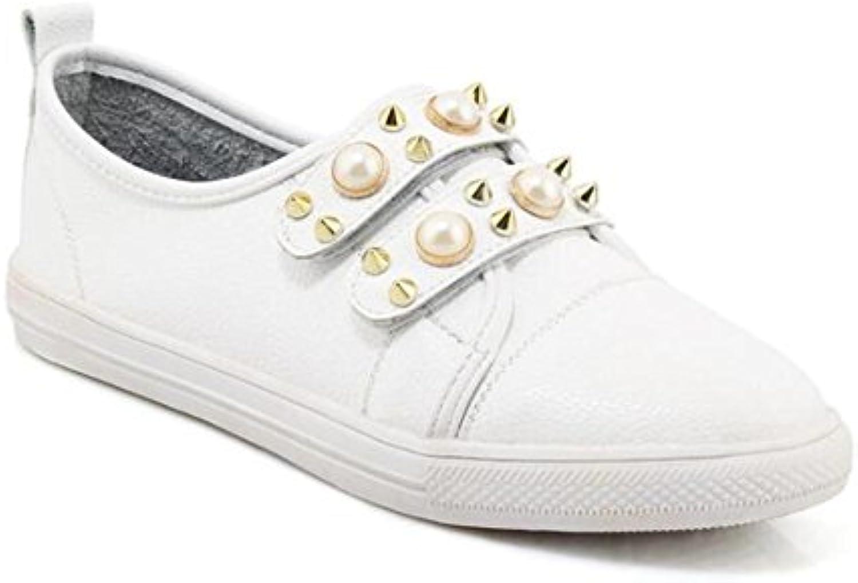 XIE Zapatos de mujer Mocasines Perla Remaches Velcro Bailarina plana Zapatillas Tamaño 35 a 44, EU41