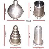 Aluminium Candle Making Moulds 4 Shapes- Ball, Bullet, Cake and Pillar.