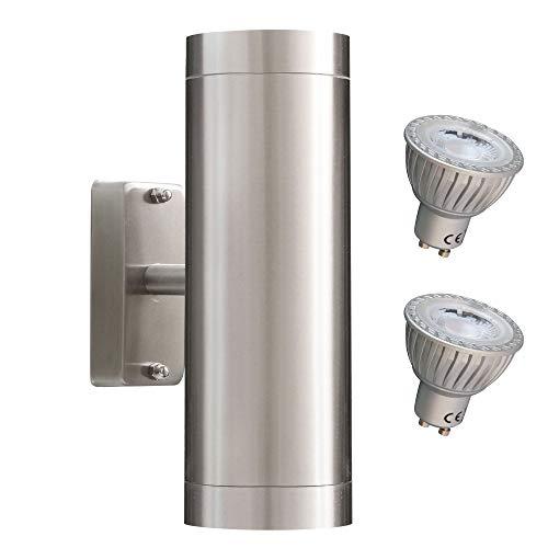 MAXKOMFORT® Aussenleuchte 109C3 inkl. LED 3W Warmweiß Wandleuchte up&down Aussenwandleuchte Wandlampe Edelstahl 2x GU10 Fassung