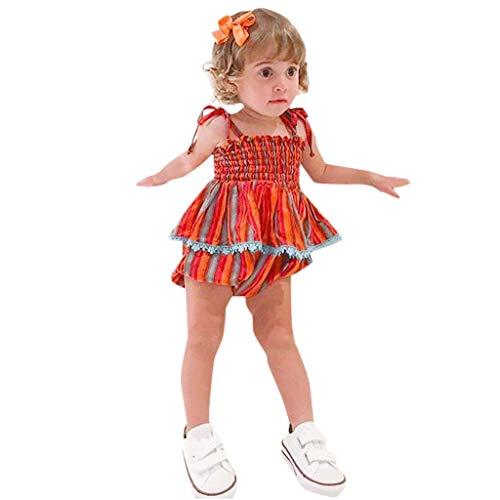 MRURIC Babykleidung Infant Baby Mädchen Sommer Rainbow gestreiften Print Tops+Shorts Outfits Set,Kleidung T-Shirt Set Kleidung Set Shorts Playsuit Kleiderset Strampler Kleider ()