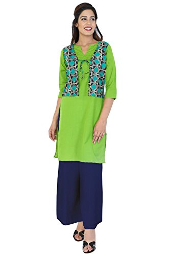 Bright Cotton Women Straight Long Jacket Kurti (XL, Green)