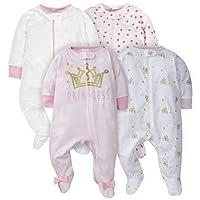 Gerber Baby Girls' 4-Pack Sleep 'N Play, Castle, Newborn