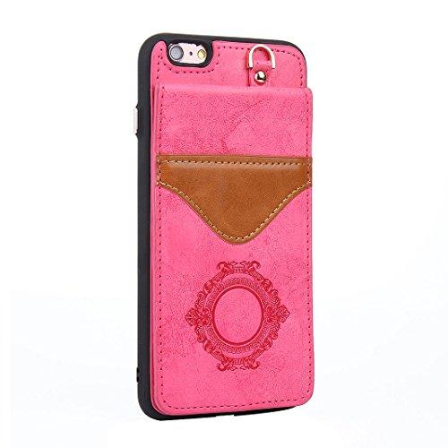 iPhone 6S Plus Wallet Hülle, Rosa Schleife Weiche TPU Silikon Schutzhülle Stand Handyhuelle Backcover Brieftasche Tasche Kartensteckplatz Mirror Cases mit Vintage Mandala Muster Design für iPhone 6S P Stieg rot