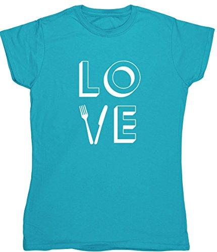 Hippowarehouse Love Food Damen Fitted Short Sleeve T-Shirt (bestimmte Größenangaben in der Beschreibung) Gr. XX-Large, saphirblau (Fitted Cupcake T-shirt)