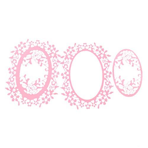 zmigrapddn Stanzformen,Ovales Blumenrahmendesign Stanzmaschine Stanzschablonen für die Erstellung von Scrapbook-Karten Paper Craft,Metall