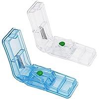 Shintop 2 Stück Tabletten-Schneider, Medizin-Trenner mit Vorratskammer (Hellblau + Transparent) preisvergleich bei billige-tabletten.eu