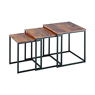 ASPECT Alana Set of 3 Nesting Table- Wooden Tops/Steel Black Legs, Wood, Vintage