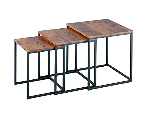 ASPECT Alana Set of 3 Nesting Table- Wooden Tops/Steel Black Legs, Wood, Vintage