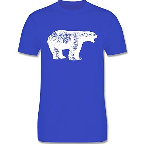 Tiermotive - Weißer Bär - L190 - Premium Männer Herren T-Shirt mit Rundhalsausschnitt Royalblau