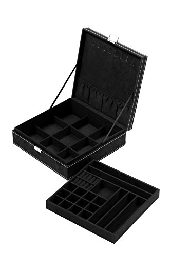 Juvale Two Layer Jewelry Box Organizer Display Storage Case With Lock & Key - Velvety Smooth Texture - Removable Tray - Compact - Ample Storage Space - Black - 10.5 X 10.5 X 3.5 Inches