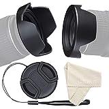 waka Gegenlichtblende 72mm, Reversibel Kamera Streulichtblende für Canon Nikon Sony Alles DSLR, Gegenlichtblende mit 72mm Objektivdeckel + Objektive Reinigungstücher