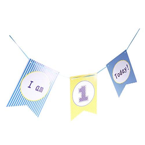 MagiDeal Stuhl Banner Dekor Girlande Papier Banner Baby Kinder 1. Geburtstag Party Dekor - Blau (Baby Girl 1. Geburtstag Dekor)