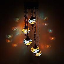 Turque Marocain Style Tiffany Mosaïque De Verre Chandelier 5 Ampoule - MC8 X 5 Ampoule Chandelier