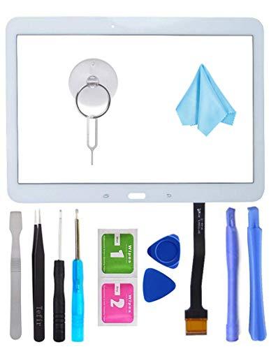 Tefir Weiß Frontglas Display Touchscreen Ersatzglas mit Digitizer für Samsung Galaxy Tab 4 10.1 SM-T530 SM-T535 T530 T535 (kein LCD) + Kleber und Werkzeug -