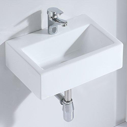 Eridanus, Serie Margot, Aufsatz Waschbecken Keramik, Rechteckig Wandwaschbecken, Waschplatz