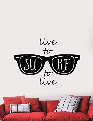 Wandaufkleber Kinderzimmer wandaufkleber 3d Leben Sie, um zu surfen, Ozean-Sonnenbrillen zu surfen