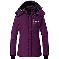 b65067b13c9 Wantdo Women s Lined Windbreaker Ski Jacket Waterproof Rain Jacket Fleece  Detachable Hood for Ladies