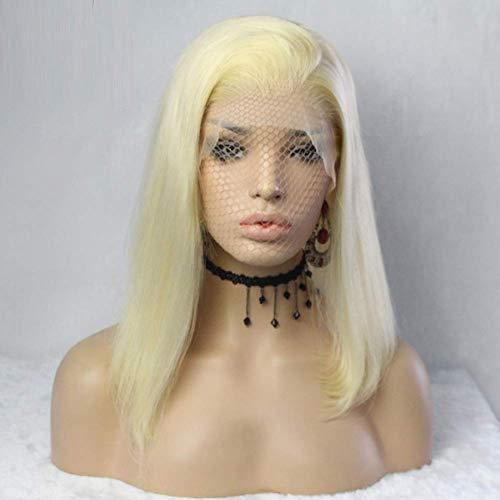 uen Lace Frontal Damen Haar Wigs Blond Kurz Glatt für Karneval Fasching Cosplay Party Kostüm, Synthetic Front Lace Wig, Blonde Bob Prücke, Short Bob Wigs ()