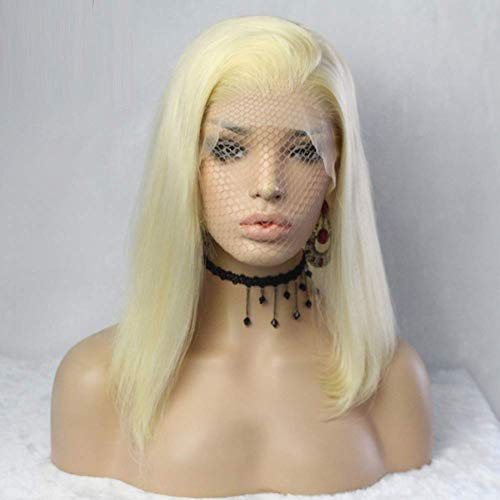 Doofang Perücke Frauen Lace Frontal Damen Haar Wigs Blond Kurz Glatt für Karneval Fasching Cosplay Party Kostüm, Synthetic Front Lace Wig, Blonde Bob Prücke, Short Bob ()
