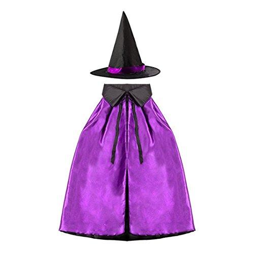 Halloween Cosplay Hexe Doppelschicht, Asnlove Erwachsene Kinder Umhang Umhang mit Hut Kindergarten Kinder-Weihnachts-Show 90CM Design (20 Kostüme Halloween Sterne)