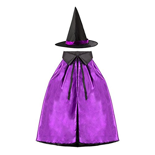 Halloween Cosplay Hexe Doppelschicht, Asnlove Erwachsene Kinder Umhang Umhang mit Hut Kindergarten Kinder-Weihnachts-Show 70CM Design (Hexe Hüte)
