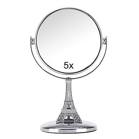 Ohcde Dheark Voyage Mini Miroir Grossissant Double Face 5X Compact Métal Rotation À 360 Degrés Miroir Outils De Maquillage