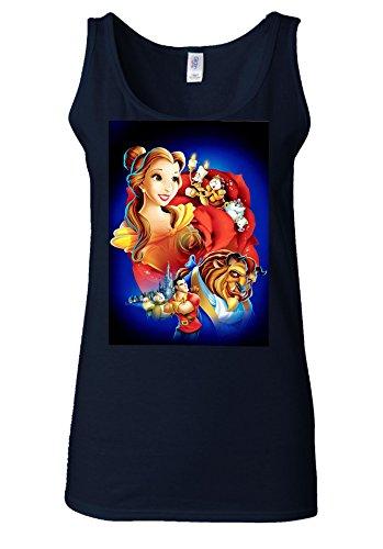 Princess Beauty & And The Beast Dance White Women Vest Tank Top Bleu Foncé