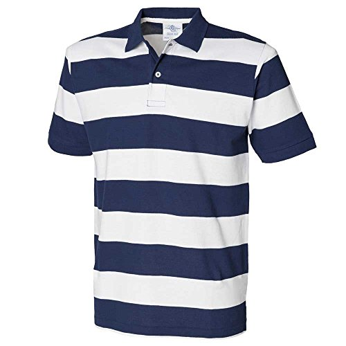Front Row Mens Short Sleeve Slim Fit Striped Pique Casual Cotton Polo Shirt Navy/White