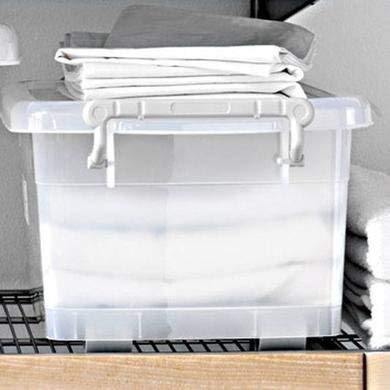 Now & Zen 15 Litre Multipurpose Plastic Stackable Organizer Storage Container Box with Wheel, Lid & Handle for Cloth, Rice, Books, Toys, Flour, Liquid - Clear