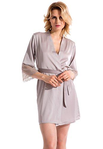 Vislivin Frauen Satin Kimono Style Robe Lingerie Nachtwäsche Gray