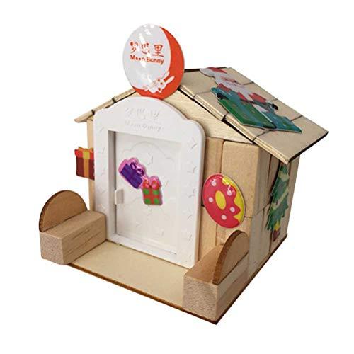 Toyvian DIY Building Cottage Hand zusammengebautes Fantasy Castle Gebäude Haus Kit Pädagogische Handgemachte Montage Modell Fantastic Castle (Holzhaus + Stühle + Aufkleber)