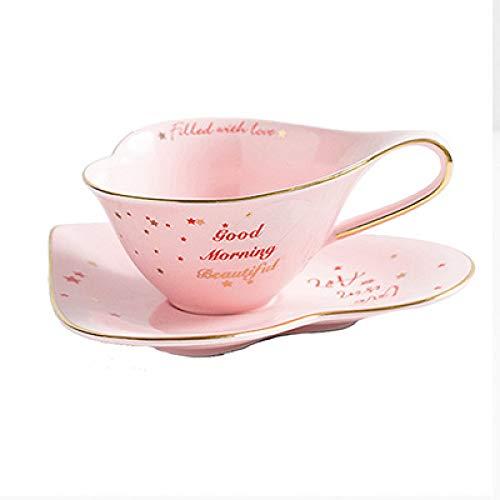 Gold Keramik Kaffeetasse und Untertasse Set 6,5 x 13 cm Becher Frühstücksteller Nachmittagstee Geschenk Paar Rosa 180ml