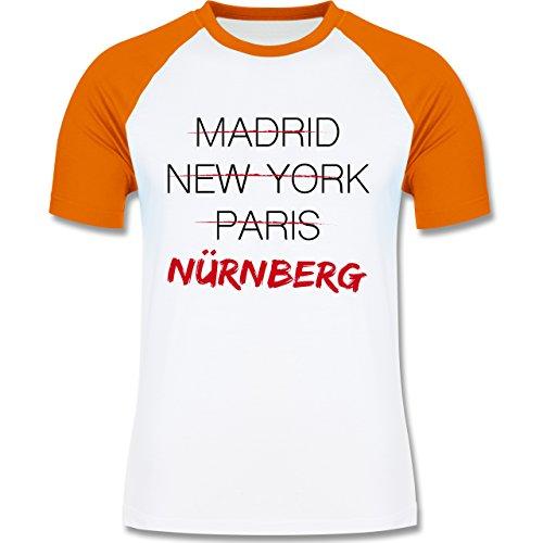 Städte & Länder - Weltstadt Nürnberg - zweifarbiges Baseballshirt für Männer Weiß/Orange