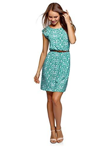 oodji Ultra Damen Ärmelloses Kleid aus Bedruckter Viskose, Grün, DE 36 / EU 38 / S (Grün Floral Bedruckte)