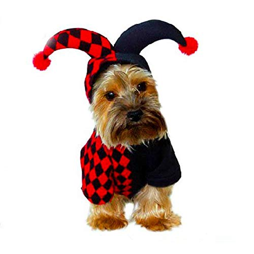 Clowns Kostüm Lustige - Lustiges Haustier Halloween Hooded Clown Kostüm for Kleine Hunde & Katzen Halloween Party Cosplay YAWJ (Color : Black Red, Size : Xl)