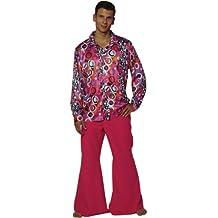 Maylynn 13156-M - Disfraz de Hippie Candyman de los años 60 y 70 para hombres, camisa y pantalones acampanados, talla M