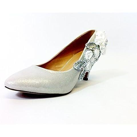 Purpurina Bonito Boda Novia Fiesta De Noche Crystal Tacones Medios Mujer Zapatos